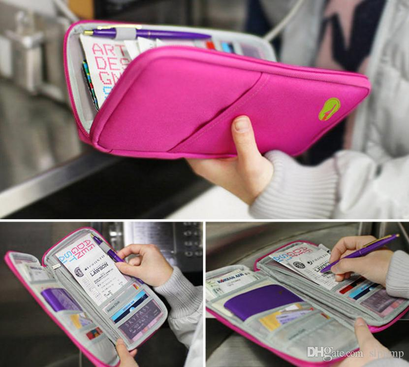 Fashion Travel Passport Credit ID Card Holder Cash Wallet Organizer Cosmetic Bag Purse Wallet nylon pouch