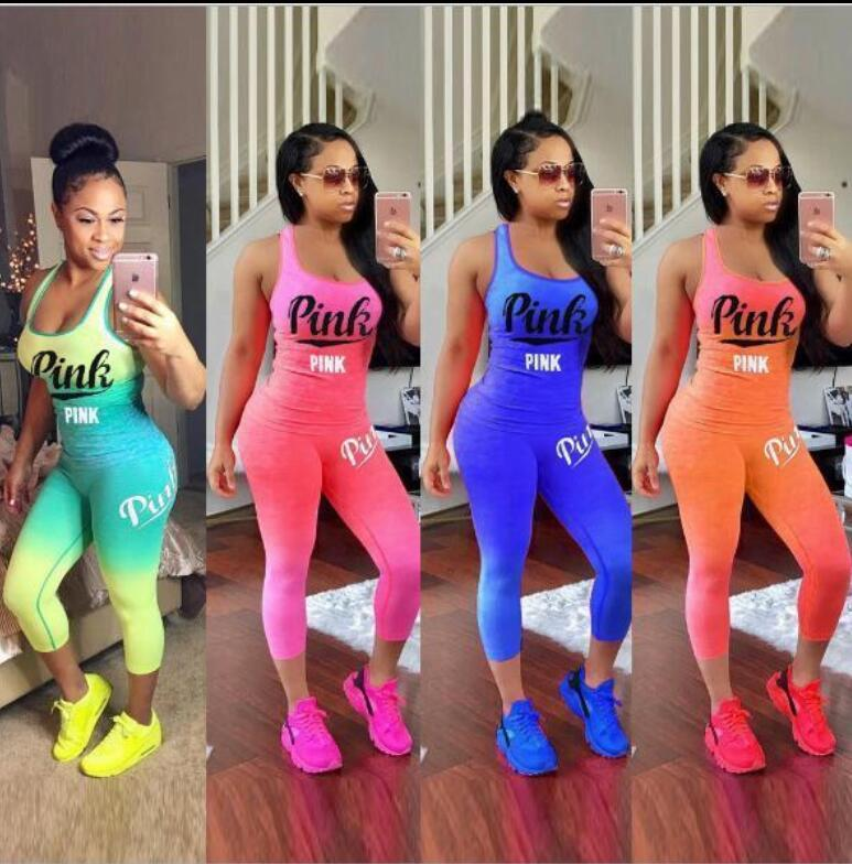 Gradient 4 Color Love Pink Sets Tracksuit Girls Sleeveless T shirt Tank Top Vest pants 2pcs Casual Clothing Set Sports wear KKA5117