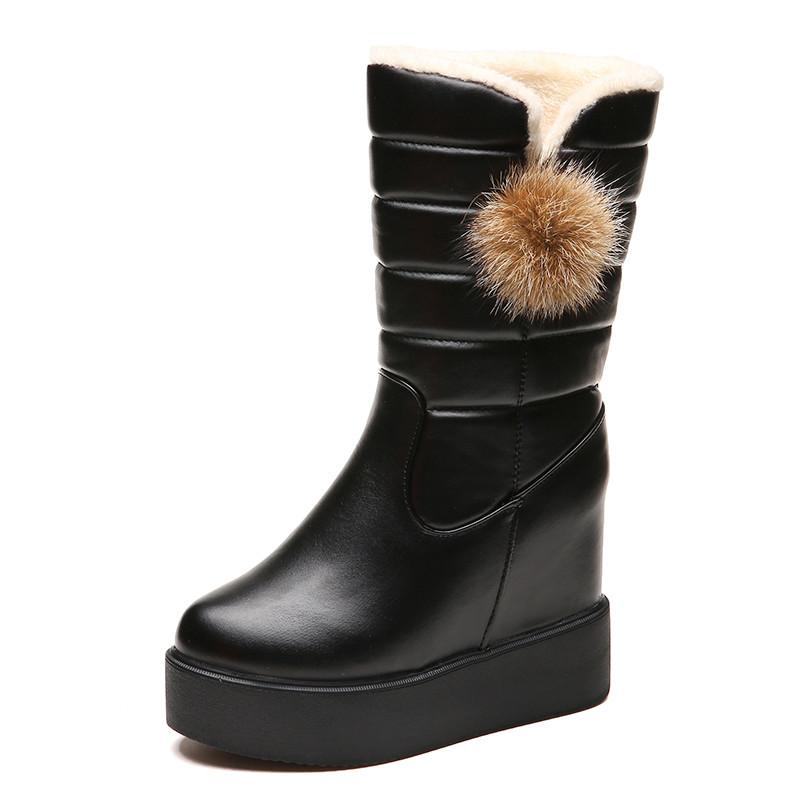 d1cc7bae3416a 2018 Winter High Women Mid-calf Snow Boots Plush Velvet Warm Outdoor ...