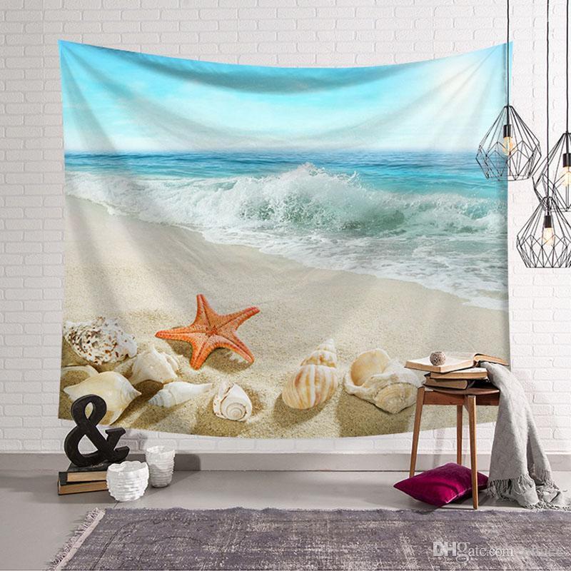 Shell Starfish Wall Hanging Tapestry Beach Blanket Hawaii Towel Wall