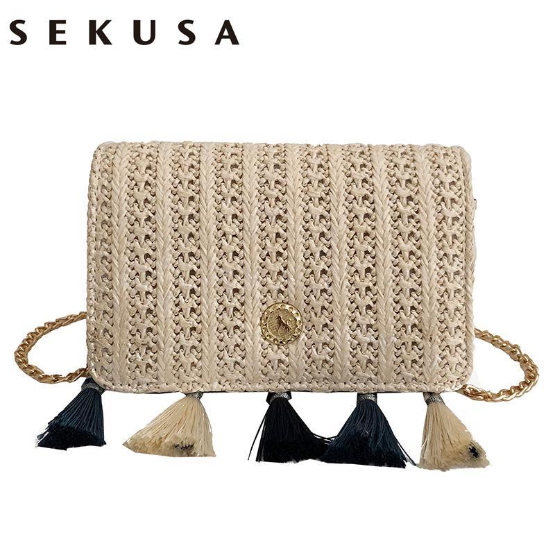 b4fd1ffa3 SEKUSA Knitted Tassel Women Evening Clutch Bags Small Lady Chain Shoulder  Handbags Fashion Female Purse Bag Clutches Cheap Clutches SEKUSA Knitted  Tassel ...
