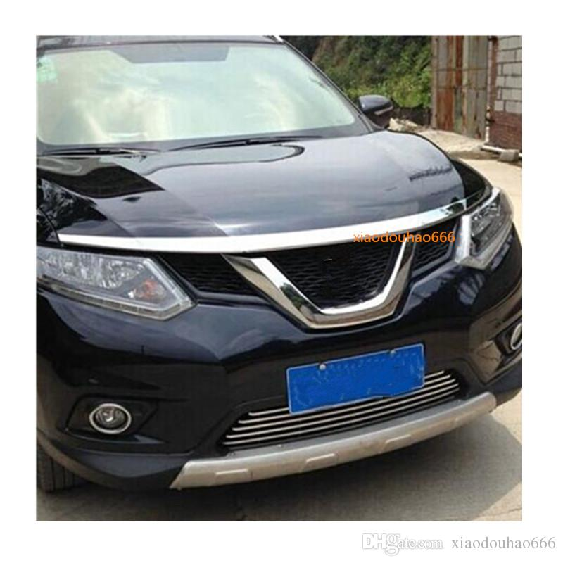 For Nissan X-trail xtrail T32/Rogue 2014 2015 2016 car ABS chrome front engine Machine grille upper hood stick lid trim lamp 1pcs