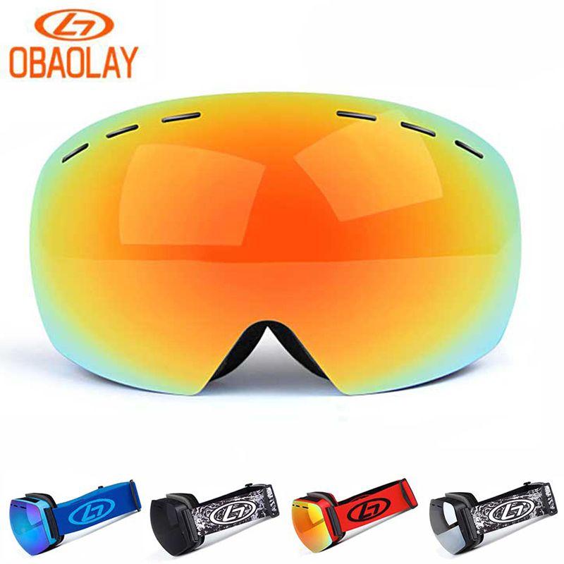 6026529ad74e 2019 OBAOLAY Rimless Ski Protective Eyewear Double Layers Broad Vision Ski  Goggles UV400 Anti Fog Snowboard Goggles From Cbaoyu