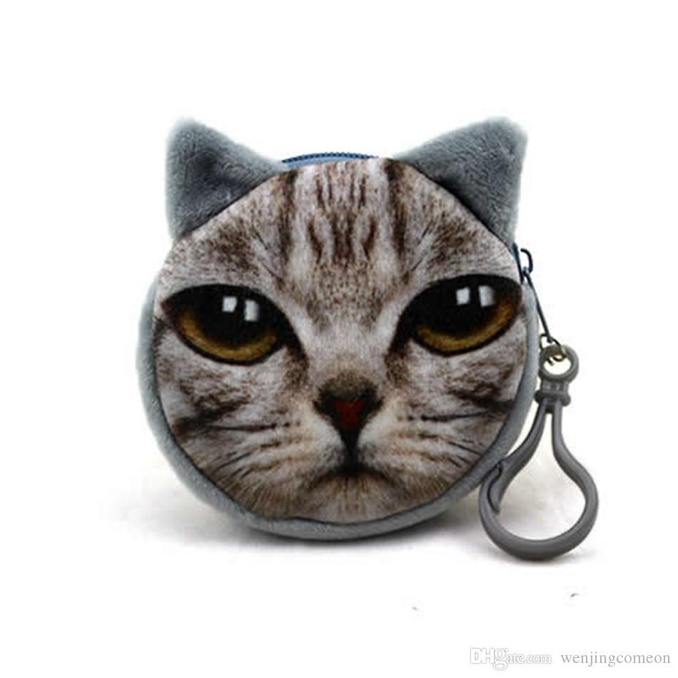 3D 인쇄 고양이 얼굴 Fidget 회 전자 가방 만화 핸드백 봉 제 미니 동전 지갑 지갑 지퍼 키 헤드폰 홀더 가방