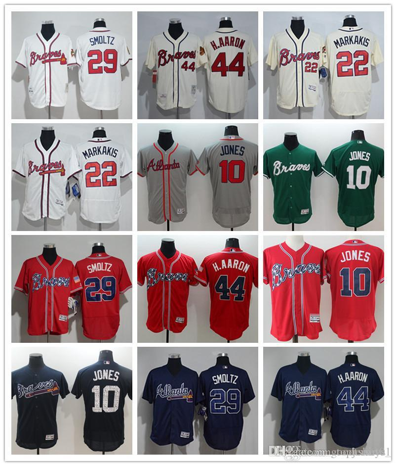 5d986c100 custom Men s women youth Atlanta Braves Jersey  10 Chipper Jones 22 Nick  Markakis 29 John Smoltz 44 Hank Aaron Red Baseball Jerseys