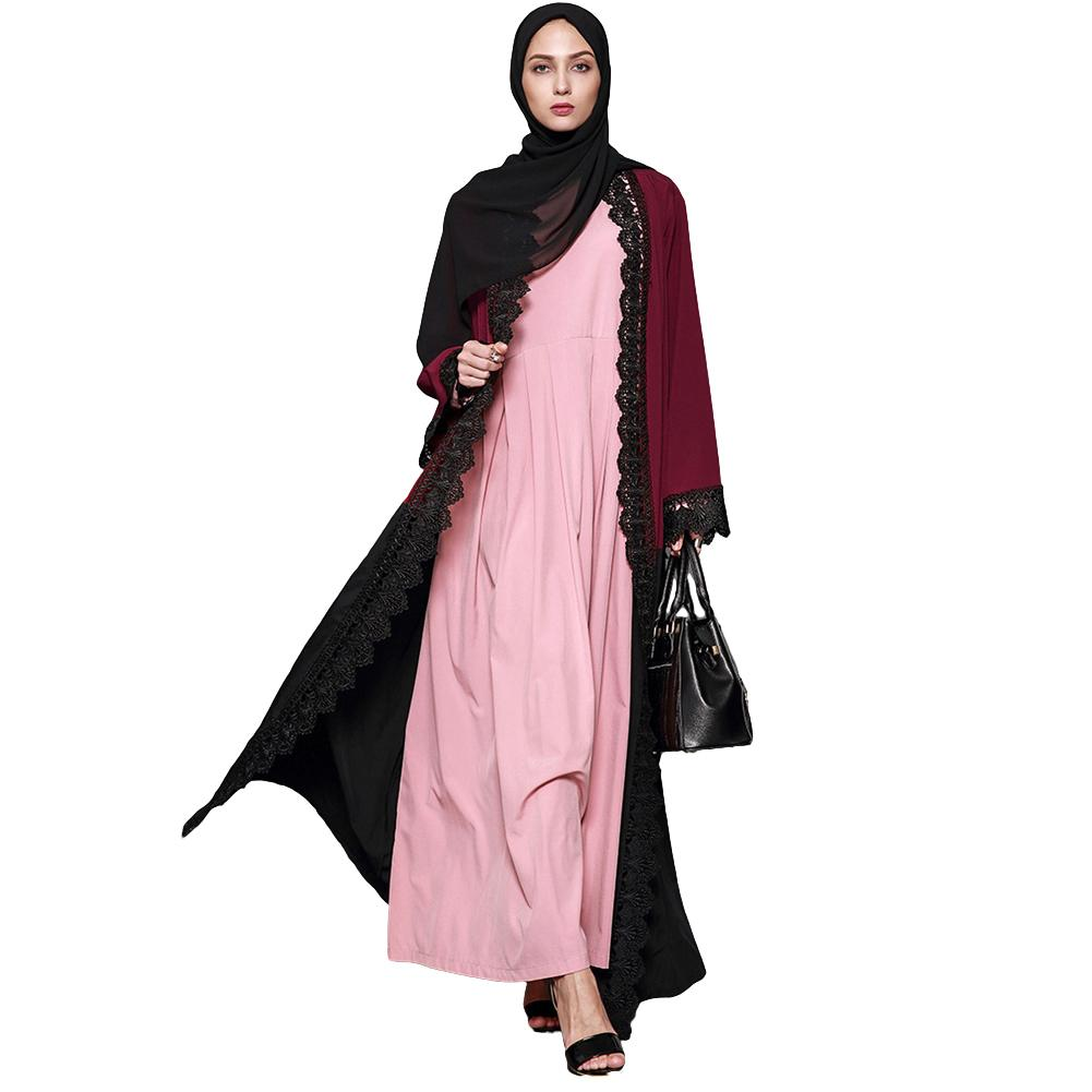 f0e17ce594b New Fashion Women Plus Size Muslim Cardigan Crochet Lace Spliced Color  Block Long Sleeve Maxi Gown Islamic Dress Burgundy Shop Cocktail Dresses  Lace Summer ...