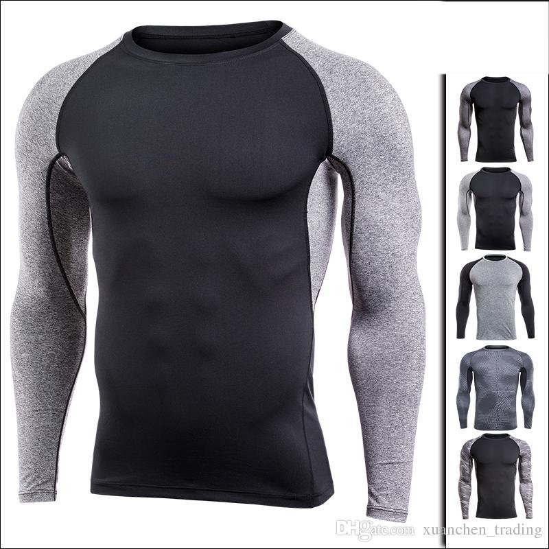 Acheter M 4XL Sport Shirt Homme Compression Fitness T Shirt À Manches  Longues Serré À Séchage Rapide Gym Runing Sport Shirt D entraînement Tops  Sportswear ... 76df9afc77b