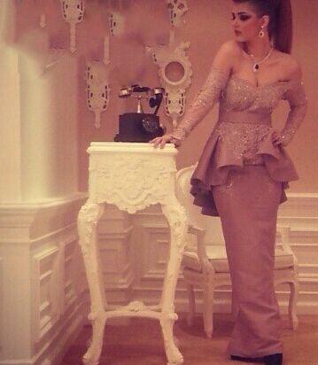 Charming Off Shoulder Long Lace Sleeve Evening Gowns Peplum Waist Back High Slit Evening Dresses Arabic