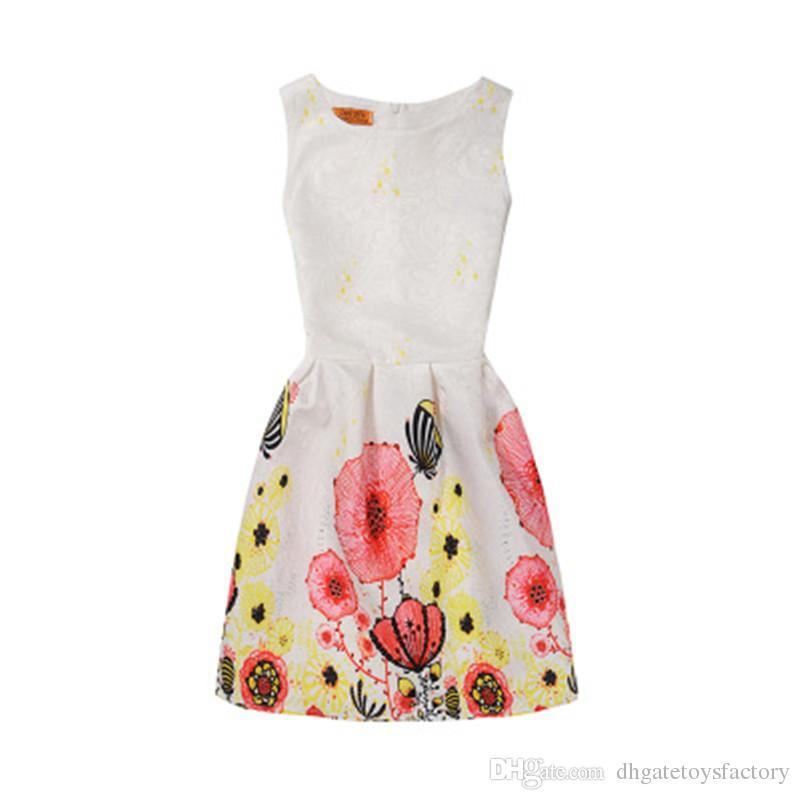Nouvelle Arrivée Élégant Filles Une Ligne Jupe Pour Les Enfants Partie Vêtements Lolita Au-Dessus De Genou Robes Floral Belle Jupe Livraison Gratuite