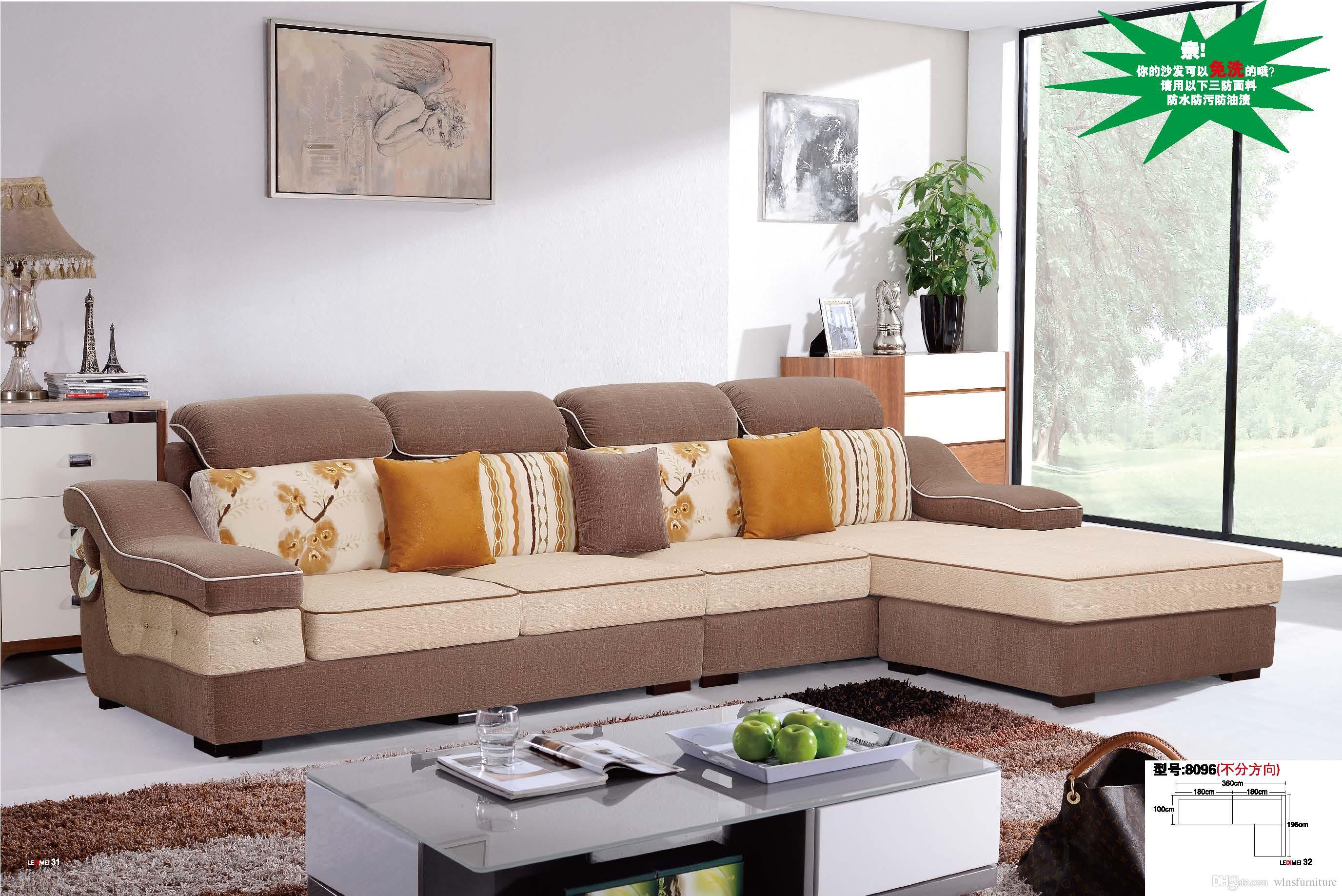 2019 U Shape Sectional Anti Bacterial Fabric Sofa Living Room ...