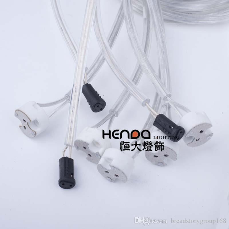 G5.3 MR16 White Ceramic Lamp Holder Base G4 Black Bakelite Lamp Base Holder with Transparent Round Wire for Lamp Cup Meals Chandeliers