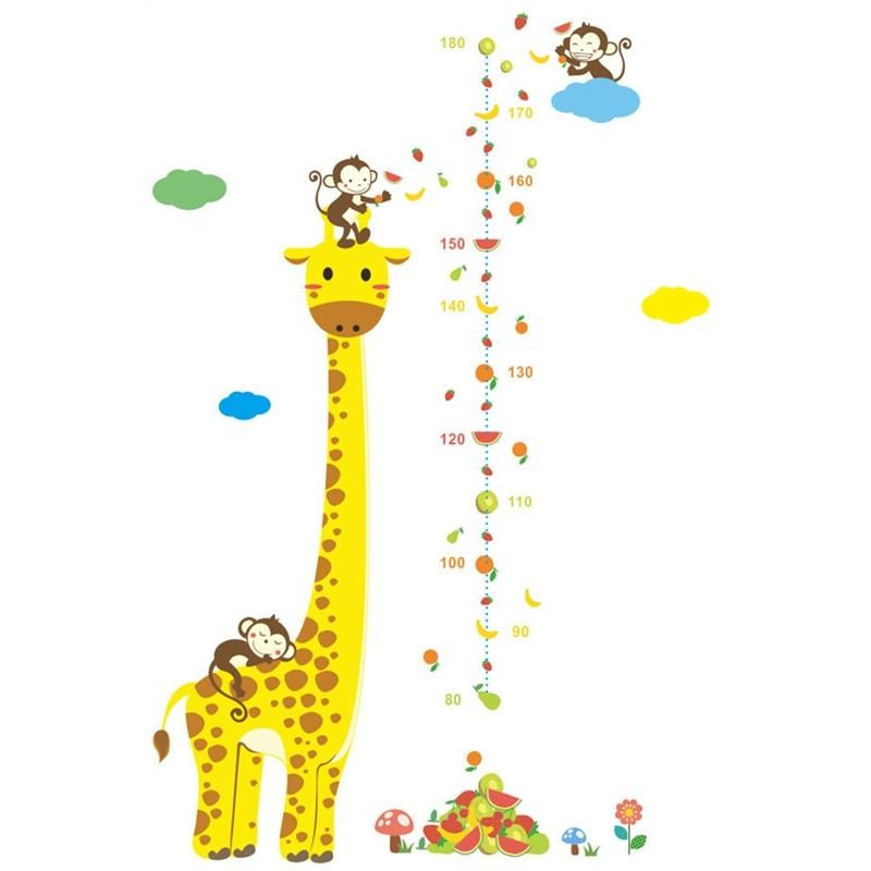 cartoon measure wall stickers for kids rooms giraffe monkey height