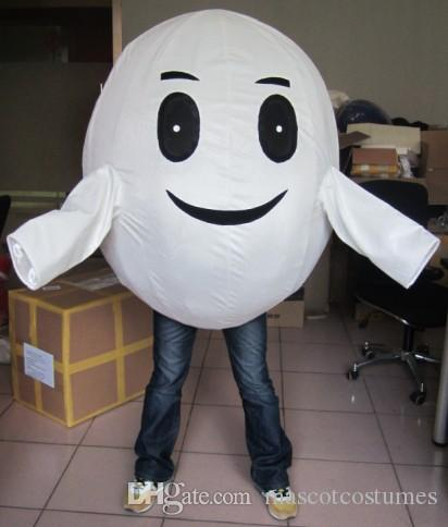Atacado boa qualidade personalizado tamanho adulto esponja branca de pelúcia ovo trajes da mascote para a festa frete grátis melhor após o serviço de venda