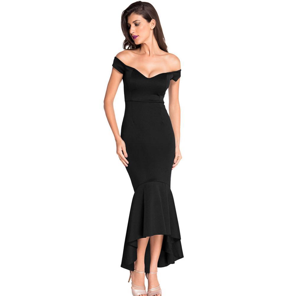 S-2XL New Strapless Slash Neck Back Zipper Dress Lady Causal Leisure Maxi  Dress Brand Women Night Club Evening Party Long Mermaid Dress 2XL Strapless  ... 8c404fee0