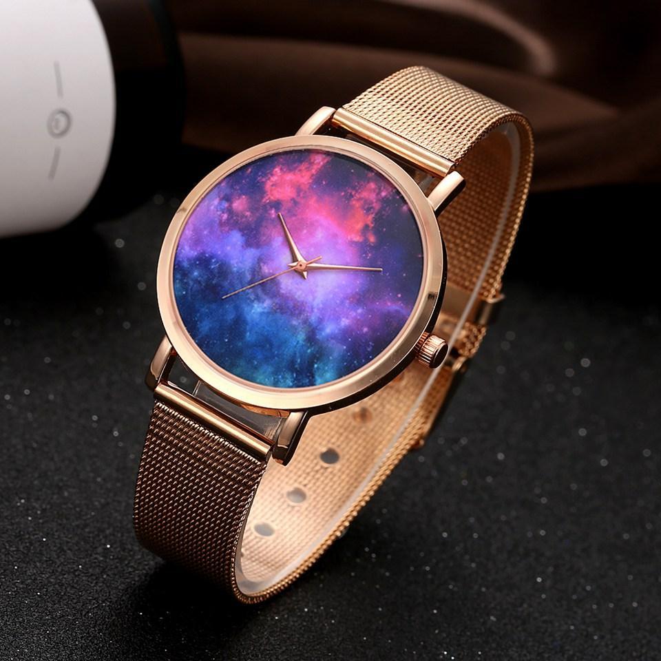 d0570831c18a Compre Lvpai Mujeres Pulsera Reloj Cinturón De Malla Metálica Rosa Dorado  Nubes De Colores Señoras Deporte Reloj Casual Vestido De Cuarzo Relojes De  Pulsera ...