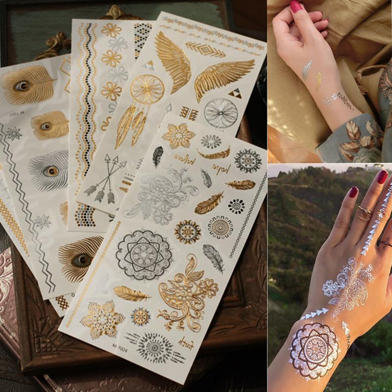 8af168b02 Gold Choker Temporary Tattoo Body Art Sleeve Arm Flash Tattoo Stickers  21*10.3cm Waterproof Tatto Henna Fake Tatoo Beauty Selfie Make A Temporary  Tattoo ...
