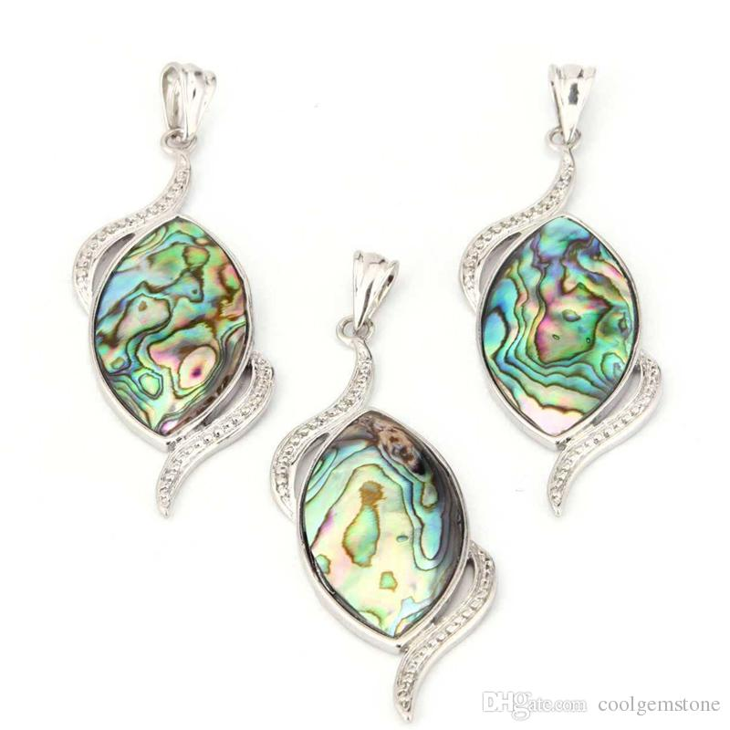 5c368bb81a 6Pcs /lot Natural Abalone Shell pendant 925 Sterling Silver Europe popular  High Quality Wedding Engagement Pendants Jewelry Size 45*25mm New