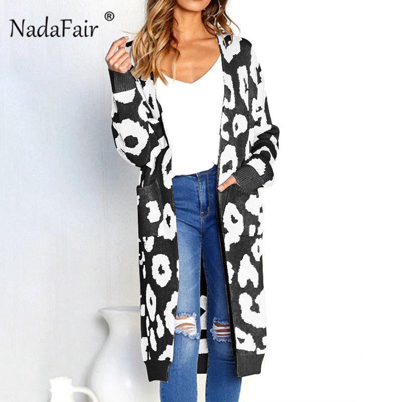 Nadafair lange Hülse Leopard lange Strickjacke Mäntel Frauen Strickjacken lässig Tasche dehnbar gestrickte Mantel Herbst Winter warm outwear S18101005