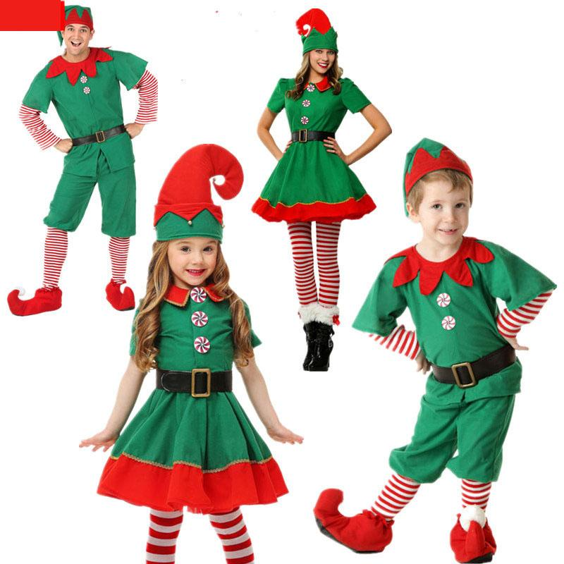 e97f44fed7f24 Christmas elf costume cosplay parent-child wear adult men and women green  free shipping