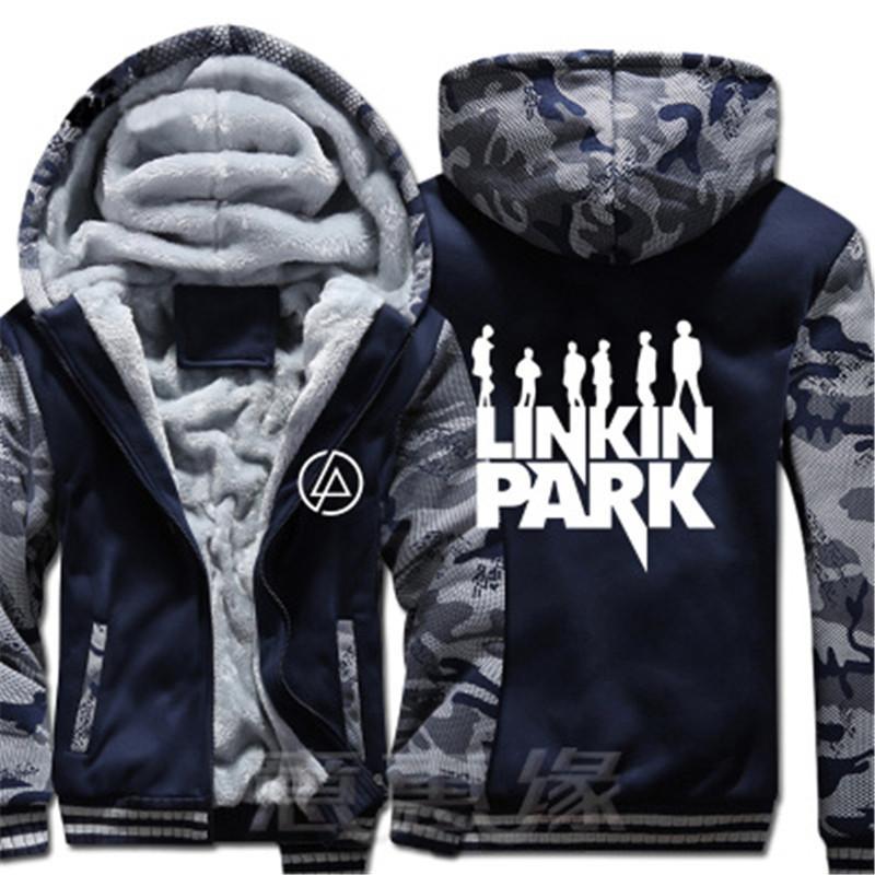 New Hip Hop Linkin Park Hoodie Man rock Coat Jacket Winter Men Thick Zipper  Sweatshirt