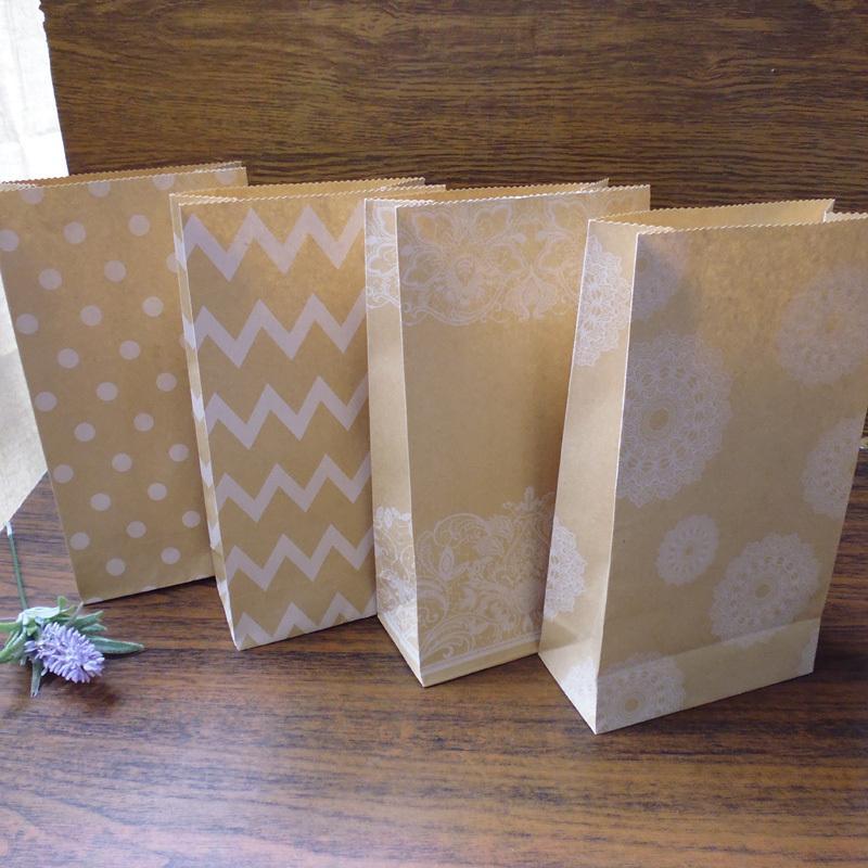 Dots Zigzag Flower Lace 4 Designs Kraft Paper Bags Party Favor Bag