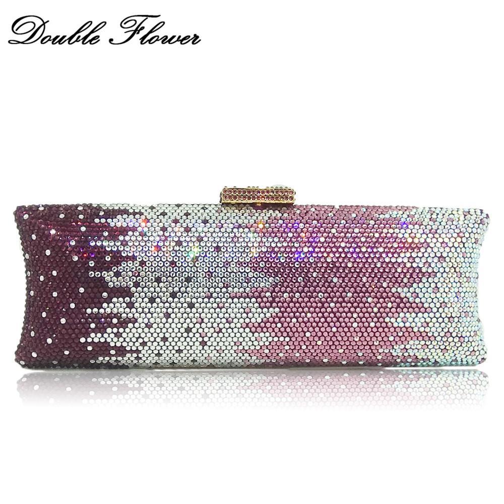 Double Flower Elegant Dazzling Gradient Purple Color Women Crystal Clutch  Evening Bags Metal Hardware Long Bridal Handbag Purse Ladies Purse  Wholesale ...