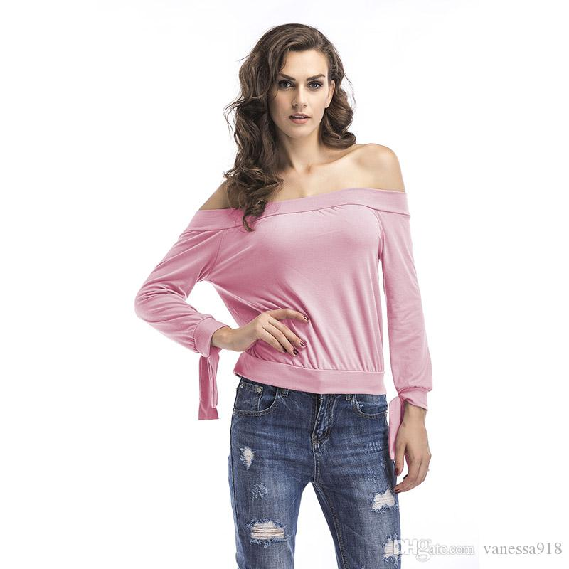 74bee9b29b1516 Autumn New Off Shoulder Crop Top T Shirts Hot Sale Long Sleeve Solid Short T  Shirts For Women Clothing Fashion Slim T Shirt BM038 All Shirts Ridiculous T  ...
