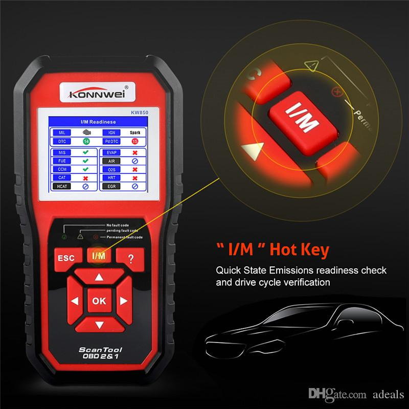 OBDII Auto Diagnostic Code Scanner KONNWEI KW850 Universal Vehicle Engine O2 Sensor Systems Scanner OBD2 EOBD Scanners Tool Check Engine Lig