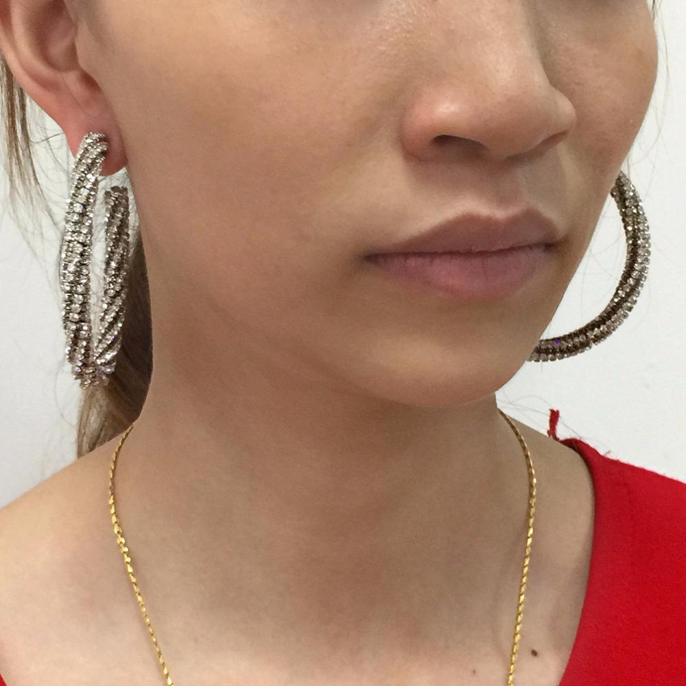 2019 Hoop Earrings MANILAI Luxury Fashion Circle Silver Color Crystal Big  Earring Women Statement Charm Rhinestone Hoop Earrings 2018 Jewelry . dbe784d01091