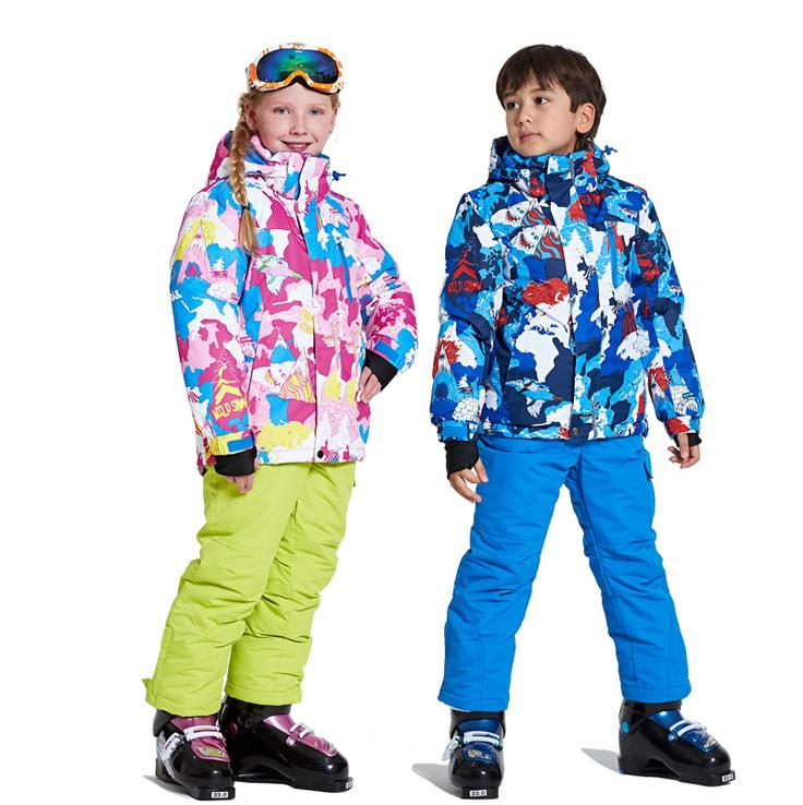 Workplace Safety Supplies Strict Hot Children Winter Snow Suit Snowboard Jacket Sports Thermal Waterproof Windproof Professional Mountain Skiing Set For Boy Girl Safety Clothing