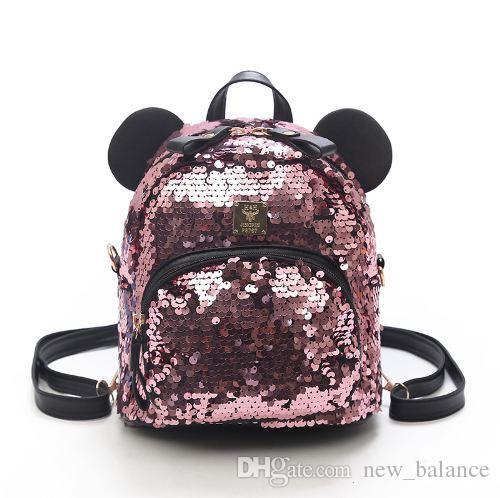 46ee3102c93b PU+Sequins Women Backpacks School Bags For Girls Princess Bling Small  Backpacks New Mini Backpack Mickey Minne Mochila Sac A Dos Tool Backpack  Best Laptop ...