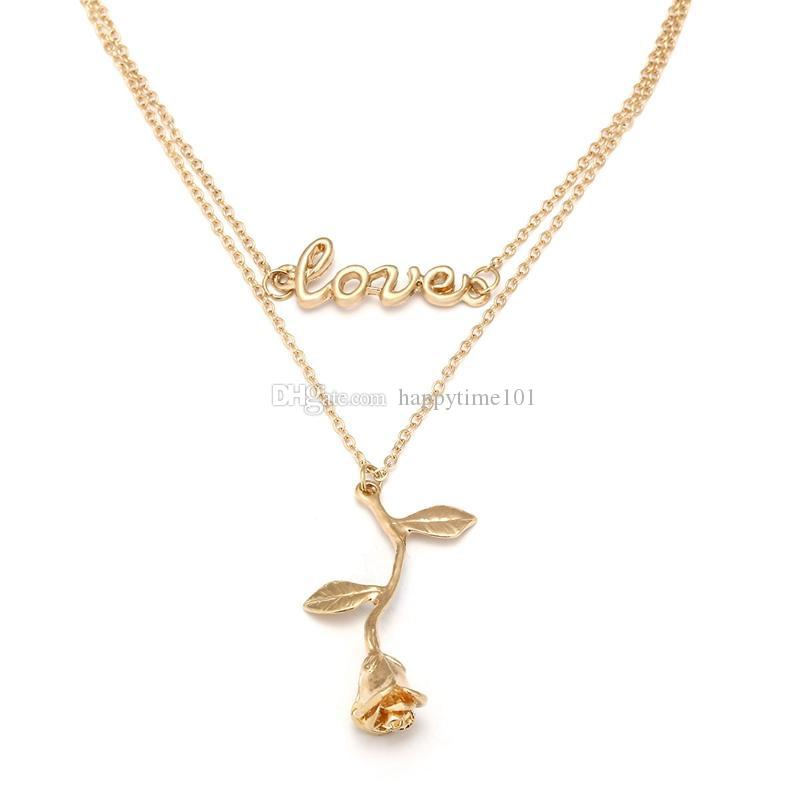 Gold Color Rose Flower Pendant Choker Necklace With Love Letter Charm Multi-Layer Statement Necklace Boho Jewelry