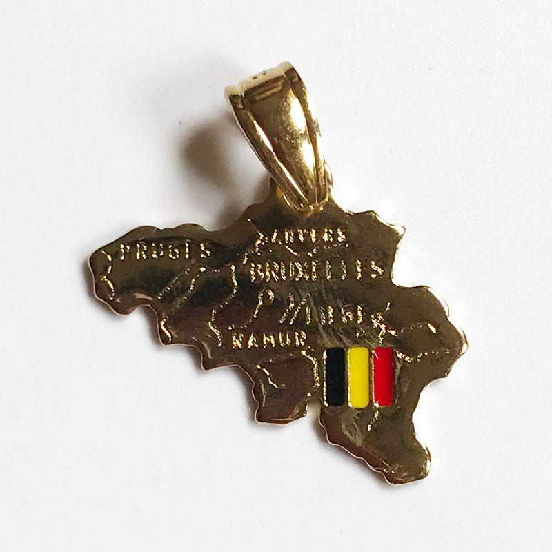 Pays Plan Belgique Thème Pendentif 18K réel en laiton plaqué or Charms Faire Bijou Collier Hommes Femmes Composants fabriqués en Chine