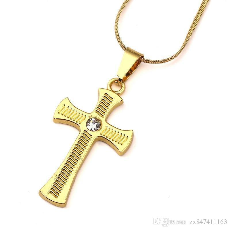 f372574dc8189 Men Charm Cross Necklace 18k Gold Plated Fashion Studded Crystal Design Hip  Hop Jewelry Long 45CM Chains Punk Rock Rap Men Necklaces Cross Necklace Men  ...