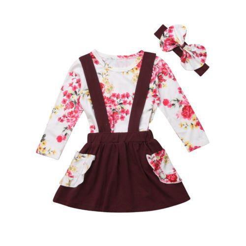 bb14a8525 2019 Baby Girl Flower Suspender Skirt Toddler Kids Clothes Sets Long ...