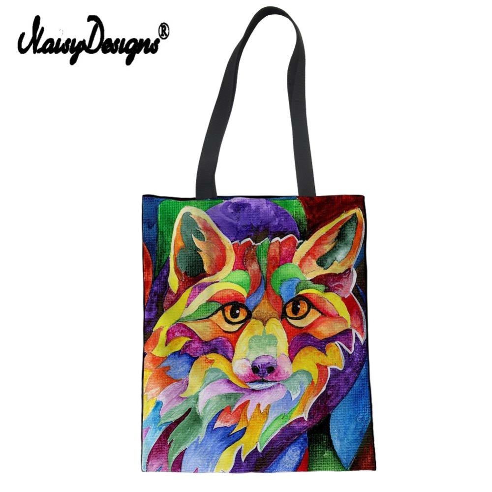 1398ae40be16 NoisyDesigns Top Handle Bag Women Canvas Shopping Bag Funny Floral Fox  Painting Print Drawing Tote Girls Kids Lunch Reusable Lunch Bags Custom Printed  Bags ...