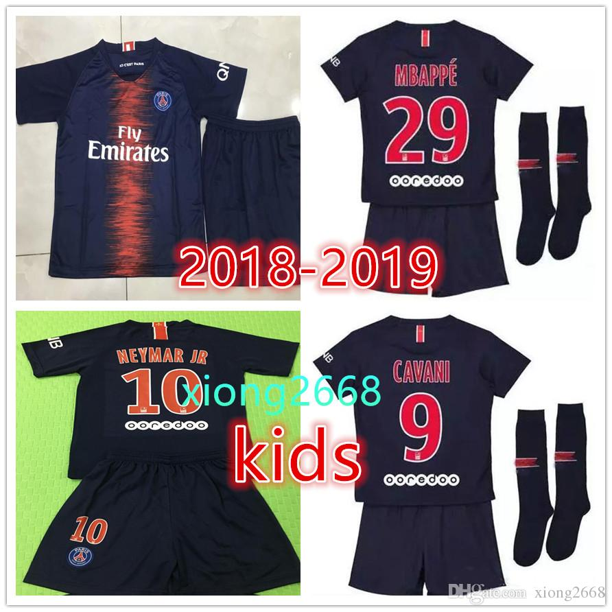 6311e36d1 2019 Paris Kids Kit Soccer Jerseys 2018 2019 New Psg MBAPPE CAVANI DI MARIA  VERRATTI DANI ALVES Child Football Shirts + Socks UK 2019 From Xiong2668