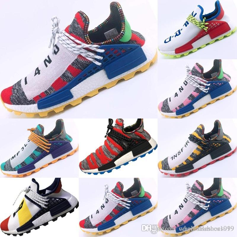 cbcbfb649 2018 New R1 Boost PW HU Knit Breathable Running Sneakers Pharrell ...