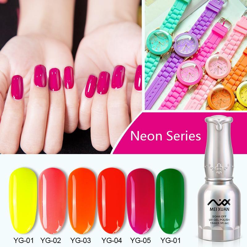 Wholesale Meixuan Nail Gel Polish Fluorescent Neon Colors Uv Led Gel ...