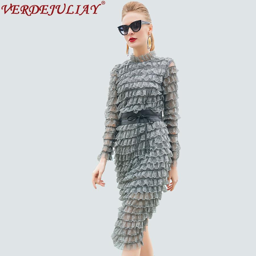f3a99ba2b86f 2019 High Street Female OL Dresses Spring 2018 Fashion Hot Sale Full Sleeve  Belt Slim Gray Split European Designed Knee Length Dress From Silan