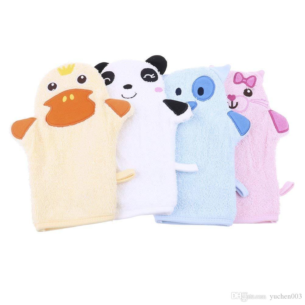 2-Pack Cute Cartoon Animal Puppet Soft Baby Bath Gloves Shower Body Wash Mitts for Newborn Toddler Kids Children, Dog & Cat