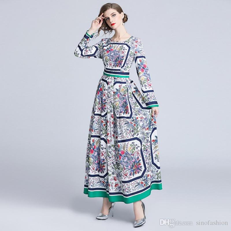 84115a5a2 Compre Vestido Floral Feminino Mulheres Elegante Manga Comprida Slim Maxi Vestidos  De Impressão Do Vintage Plissado Uma Linha Vestidos De Sinofashion, ...