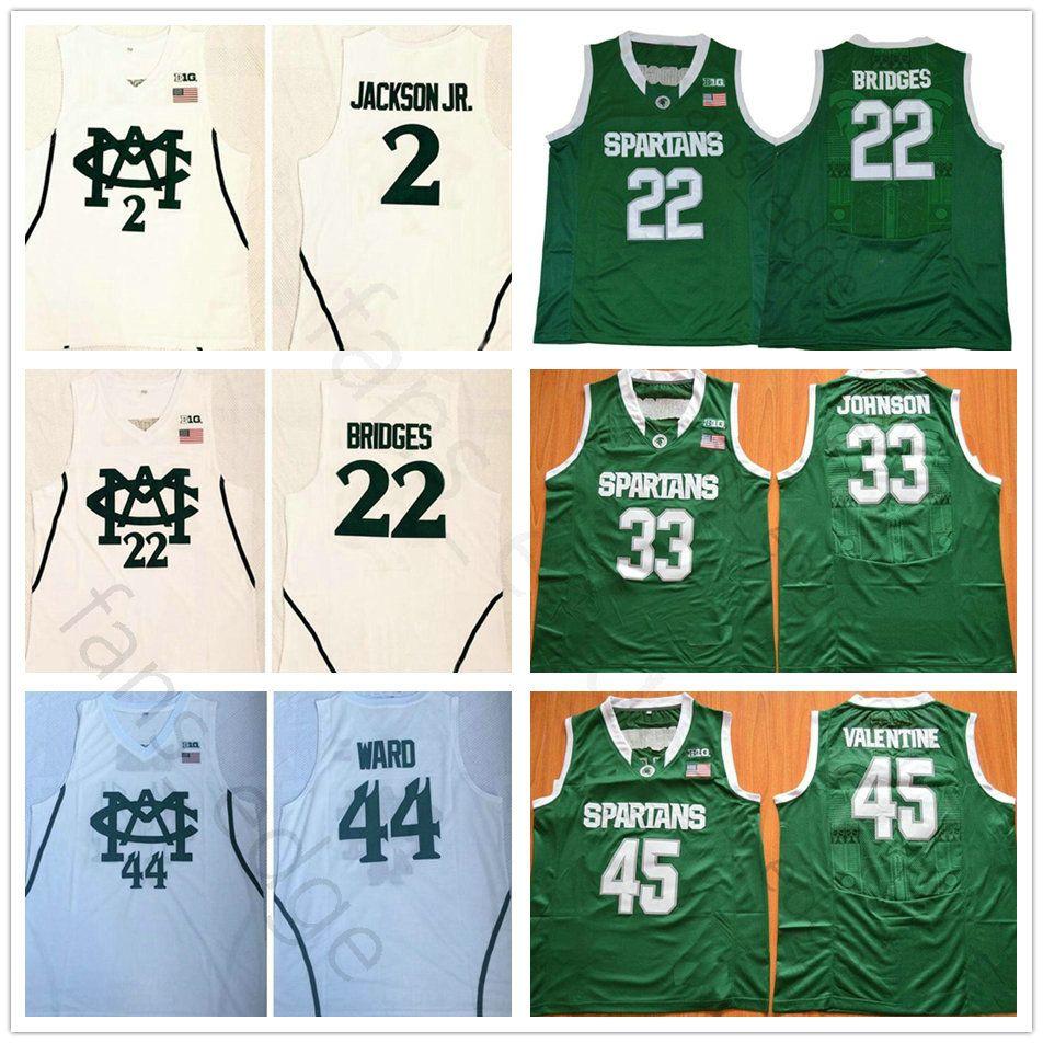 5a19b94aeef8 2019 NCAA Michigan State Spartans College 2 Jaren Jackson Jr. 44 Nick Ward  22 Miles Bridges Basketball Jerseys  33 Magic Johnson Stitched Jersey From  ...