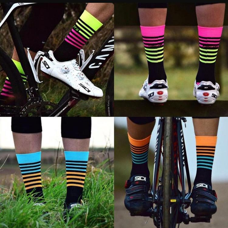 Cycling socks High Quality Professional Brand Sport Socks Breathable Bicycle Socks Stripe Style Sports Racing Basketball Football