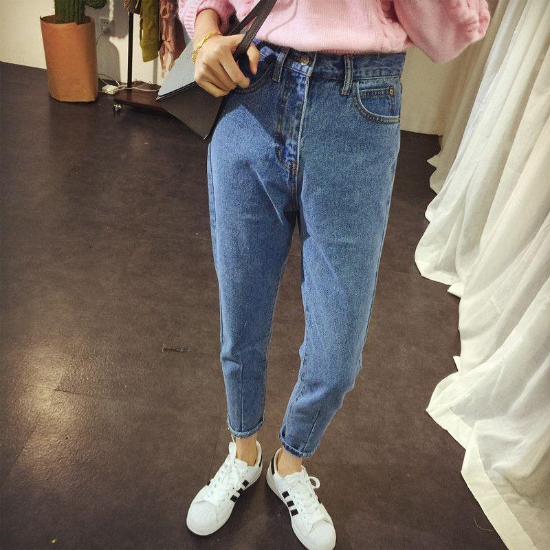 f98baa023fa H Boyfriend Jeans Para Mujeres De Cintura Alta Jeans De Corea Mujer BF  Classic Street Pantalones De Teenage Girl Pantalones De Mezclilla Coreanos  2018 XS A ...