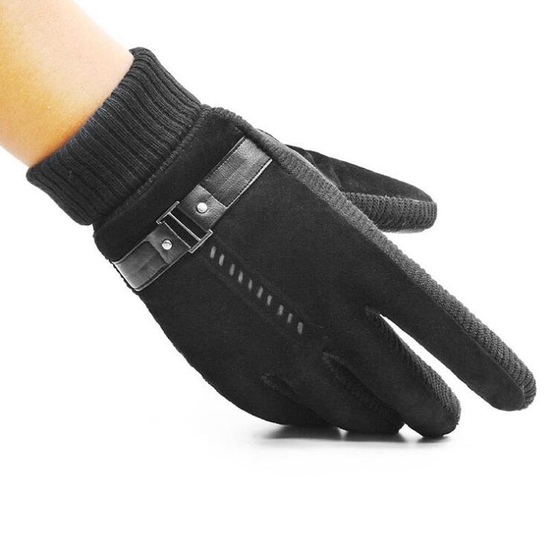 Guantes de punto de cuero sintético de invierno para hombres y mujeres Mantienen guantes antideslizantes de dedo completo gruesos calientes