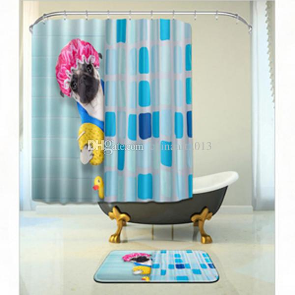 Cute Animal Fashion Bathroom Decora Waterproof Polyester Fabric