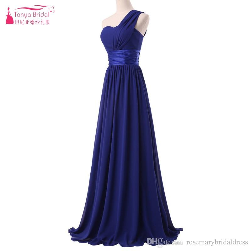 aa7f60945af4 A Line One Shoulder Long Bridesmaid Dresses Simple Style Bridesmaid ...