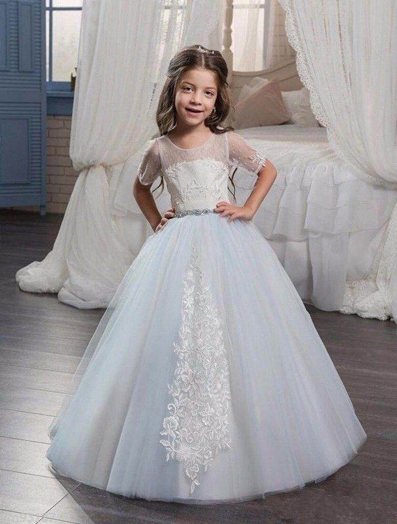 Vestido azul claro de boda