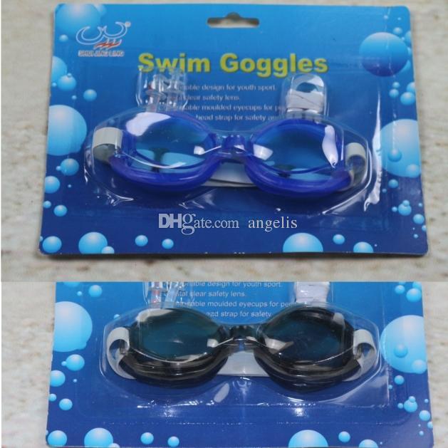 Mode Nouveaux Enfants adultes Lunettes de natation Lunettes de natation + bouchons d'oreilles + pince-nez imperméables, anti-buée. 5 couleurs.